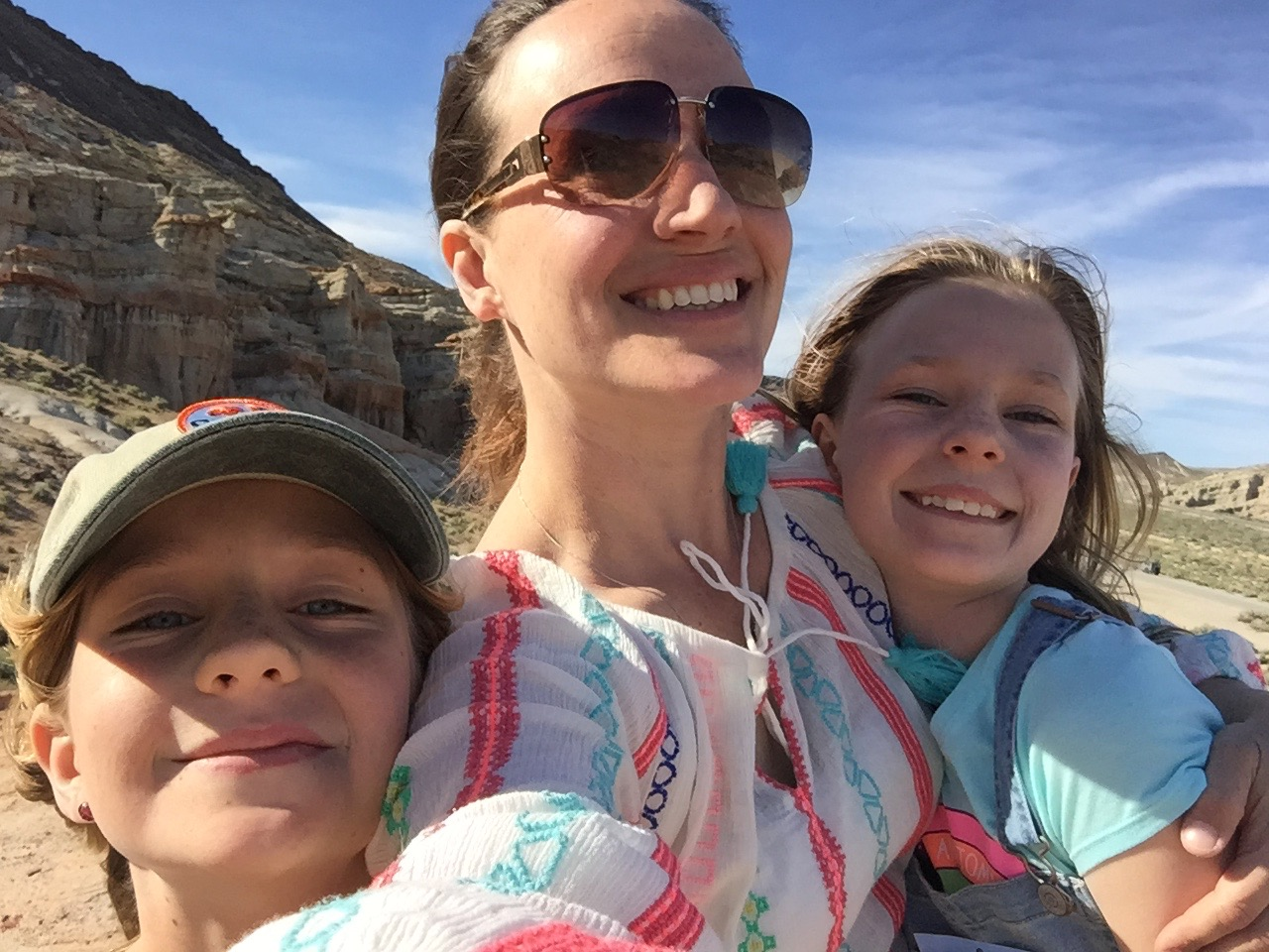 Abigail & her daughters on a hike in Red Rock Canyon