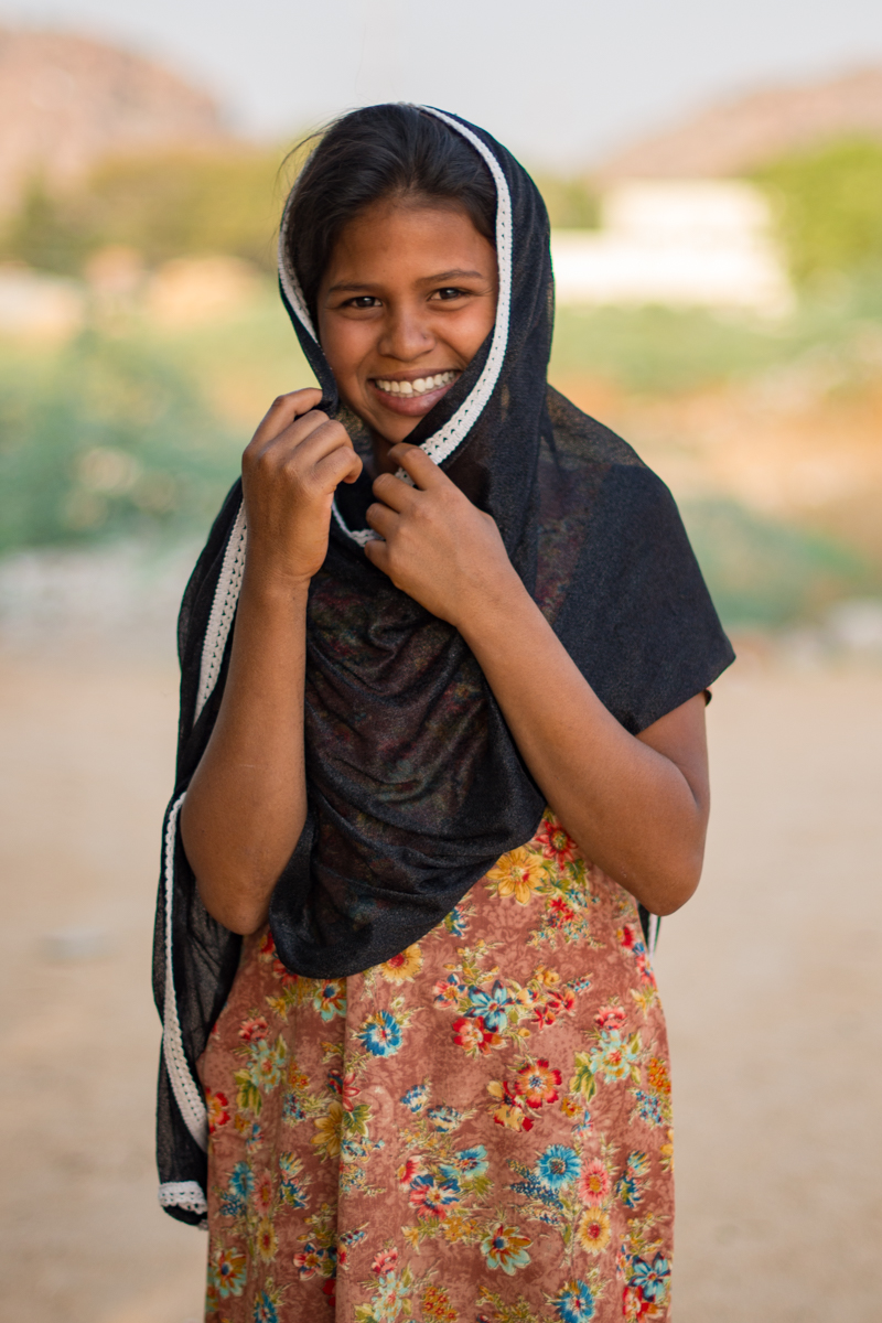 """I first met Yasmin in 2014 while on a walk to Jacob's Well (the area's natural spring water supply that supplies """"sweet water"""" to hundreds. I was fortunate enough to bump into her and her sister on a walk and have been chatting with them every afternoon this week. (They speak about 20 words of English and are trying to teach me some Kannada and Hindi and are always eager to introduce me to their friends passing by. Of course we all laugh when I attempt to introduce myself and ask questions, but I think the practice is paying off!"""