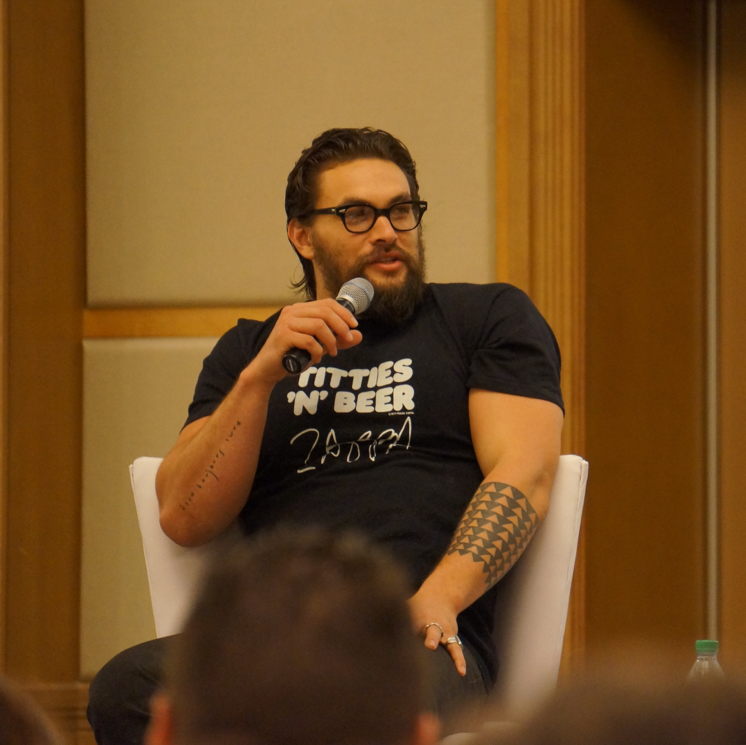 Jason Momoa had his own panel as well.