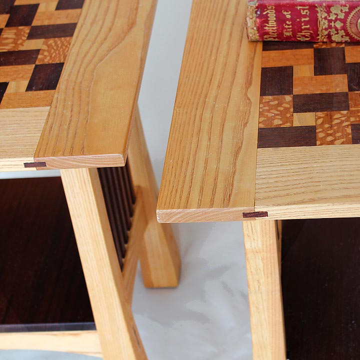 Arts and Crafts Quilt Top End Tables