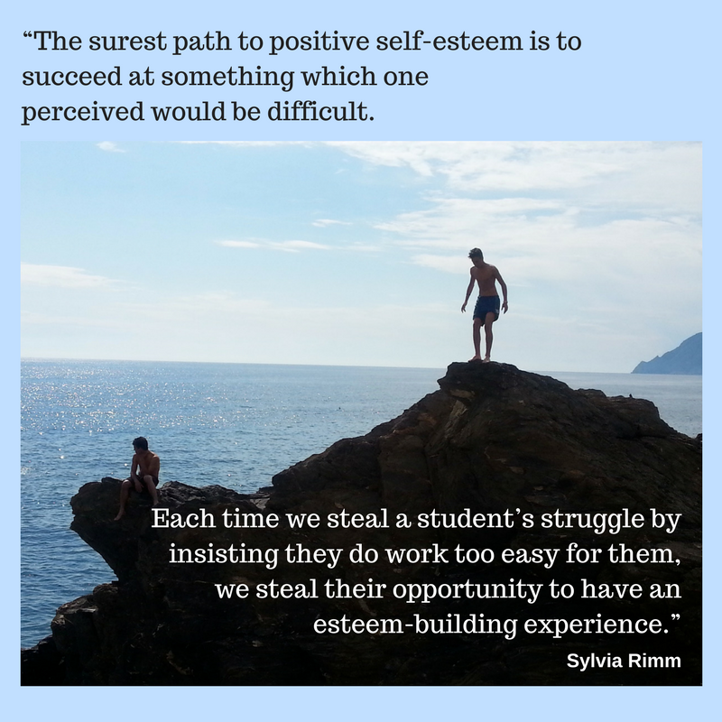 """1""""The surest path to positive self-esteem is to succeed at something which one perceived would be difficult. Each time we steal a student's struggle by insisting they do work too easy for them, we steal their opportun.png"""