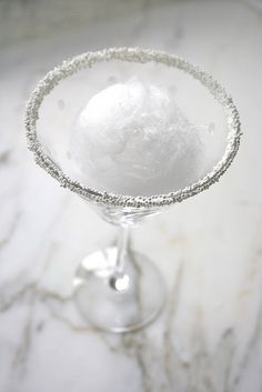 Snowball martinis with sugar crystals.