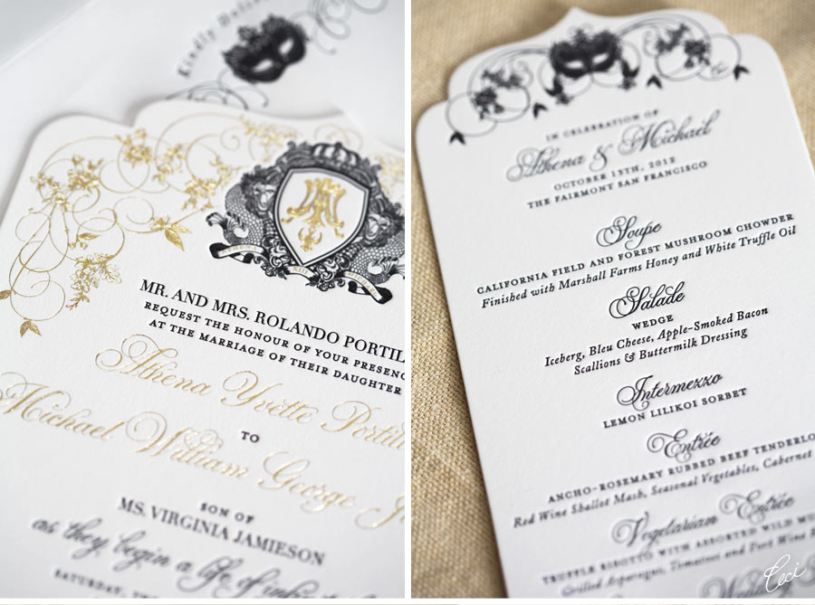 White and gold invitations with mask accents
