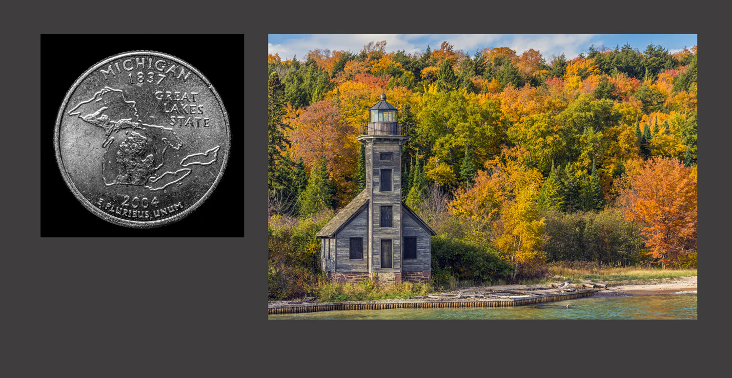 Picture at right is East Channel Lighthouse on Grand Island near Munising, Michigan which is in the upper peninsula of the state of Michigan on the shore of Lake Superior.