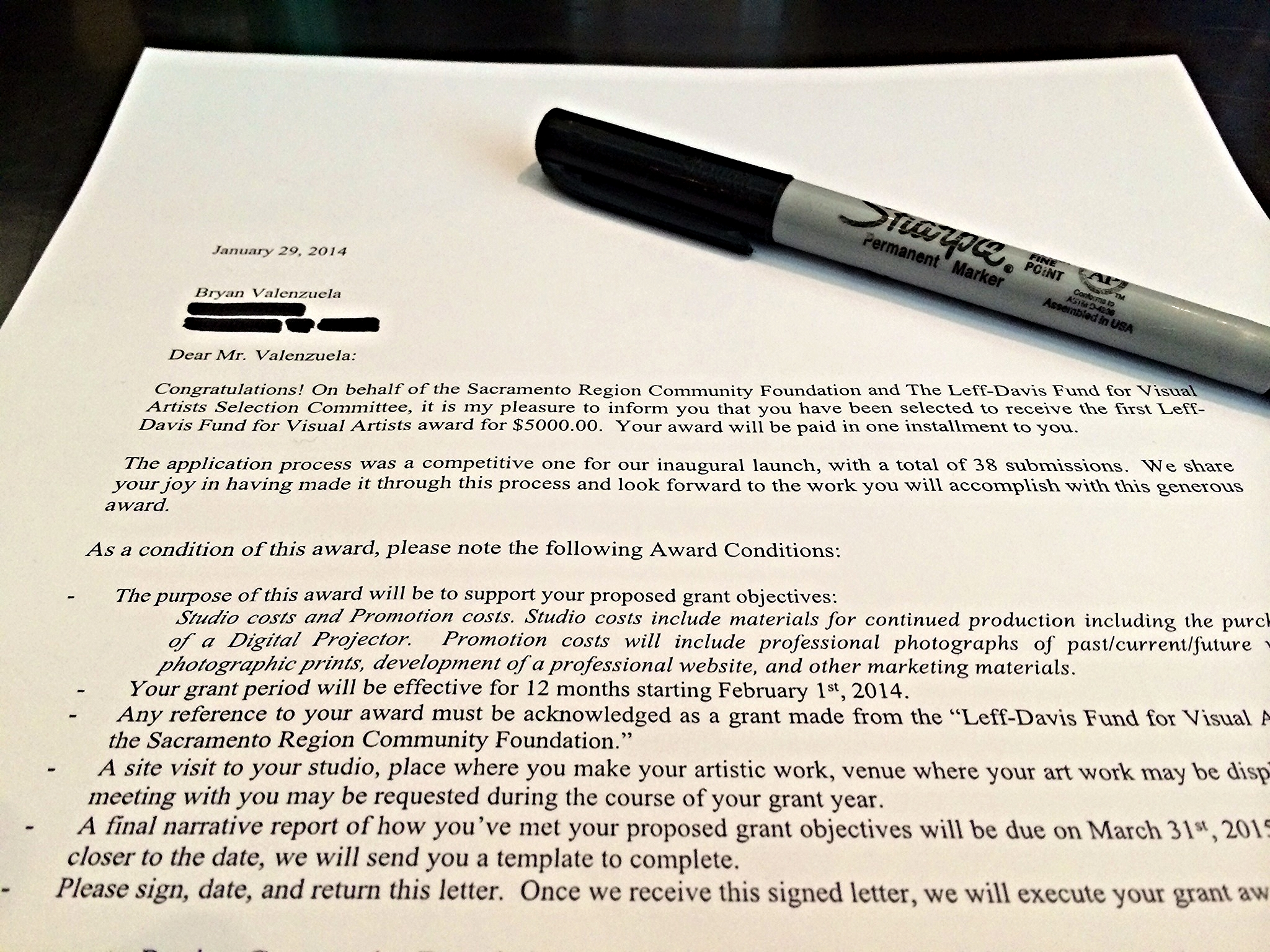Grant contract