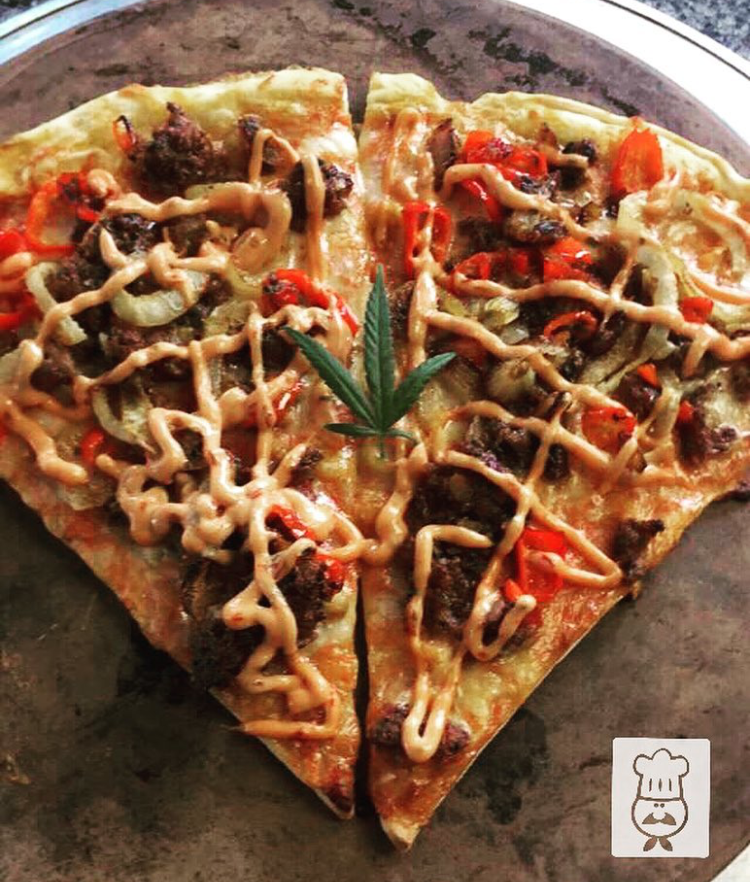 Black Bean & Corn Quinoa Burger Pizza w/ Spicy Canna-Chipotle Aioli