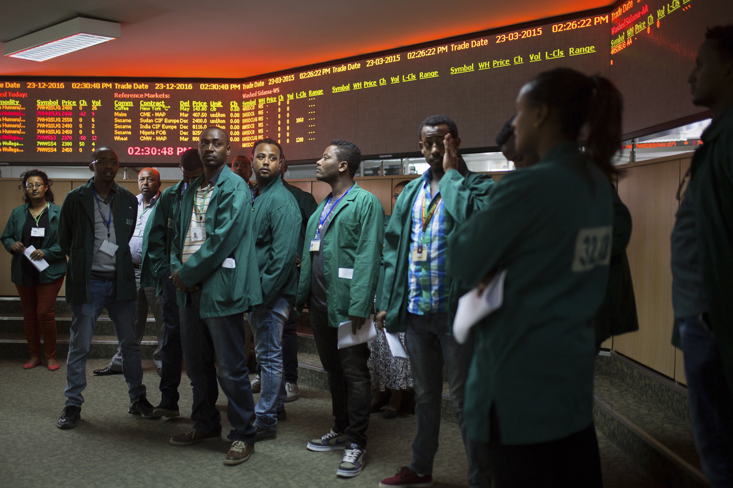 Coffee traders are waiting for the trading to start in the Ethiopia Commodity Exchange, Addis Abeba.