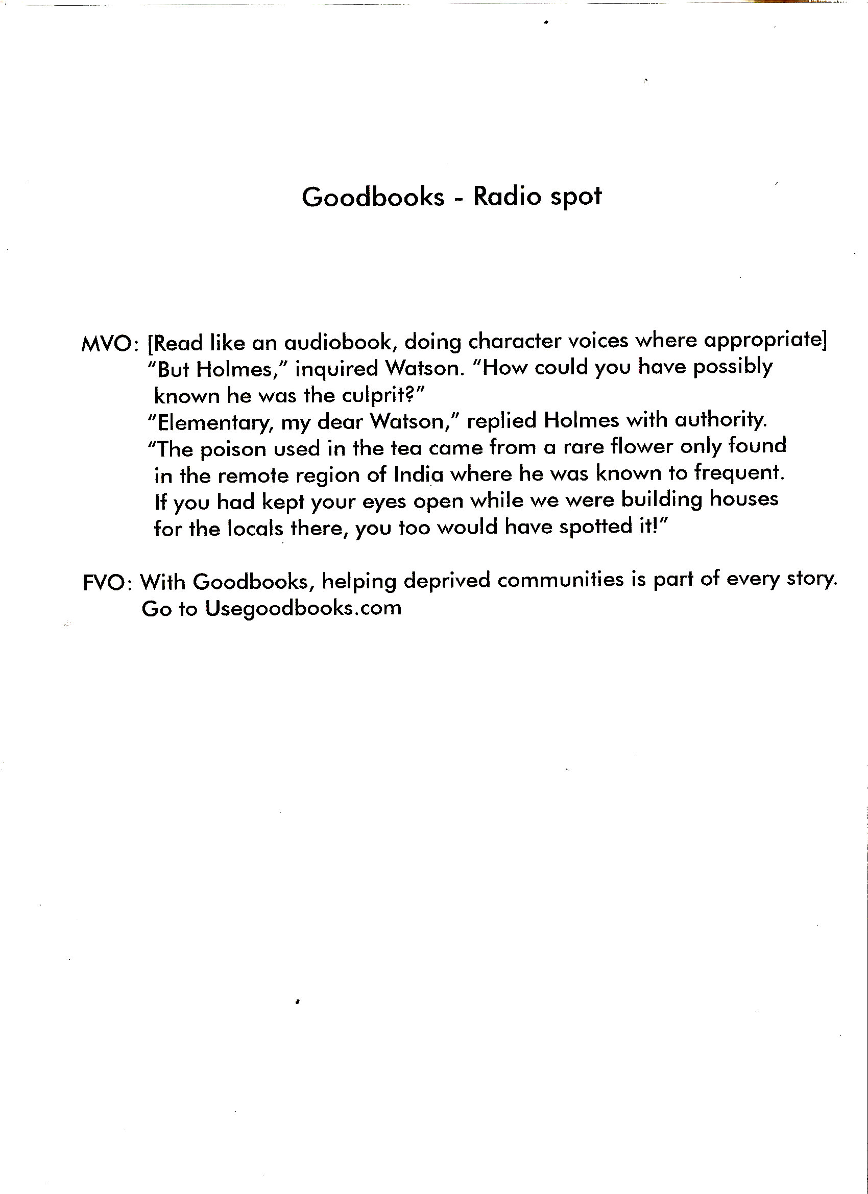 Prop: Proceeds from Goodreads go to charity.