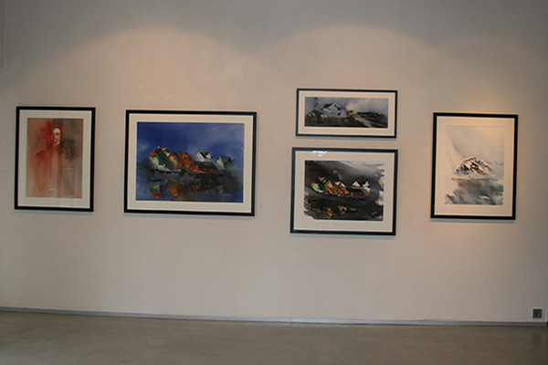 Some of the watercolours at the exhibition.