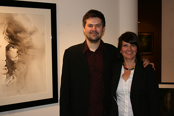 Hilde with her cousin Stein Medby who played classical guitar at the opening. It could not have been any better!