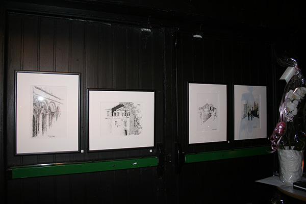 Some of the drawings at the exhibition.