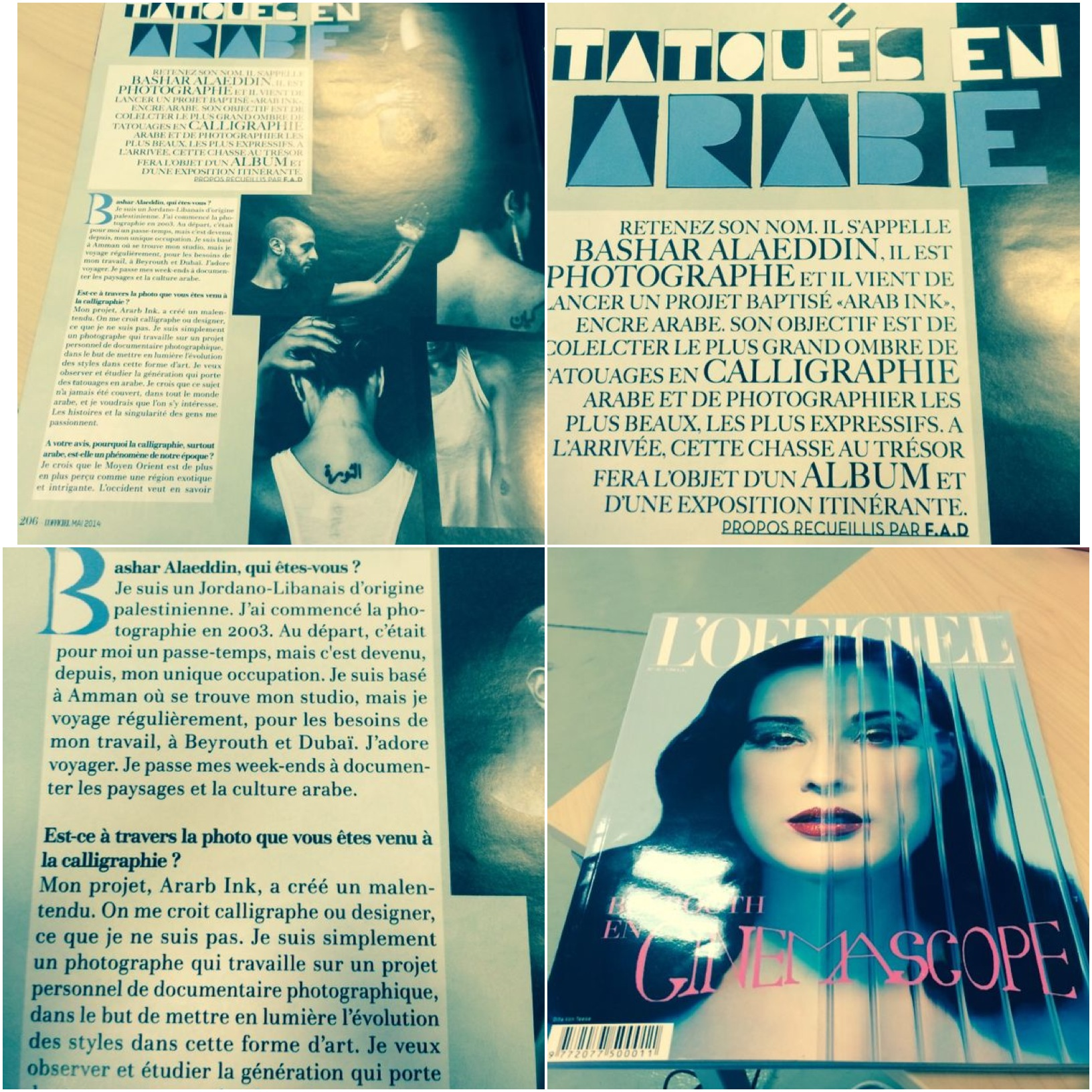Interview in French magazine  L'Officiel Levant , June 2014
