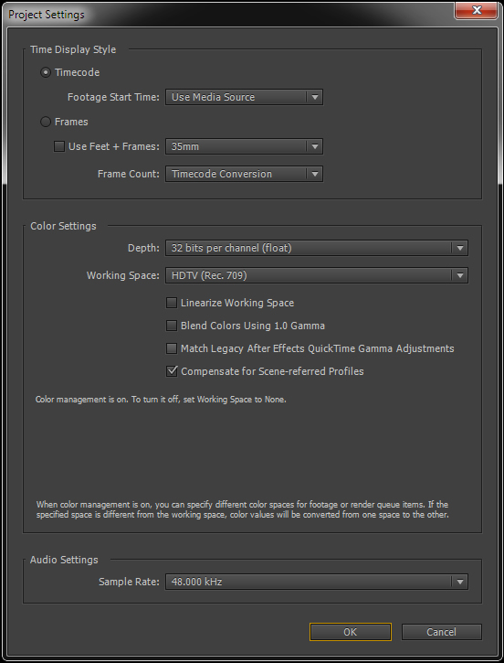 Project settings panel