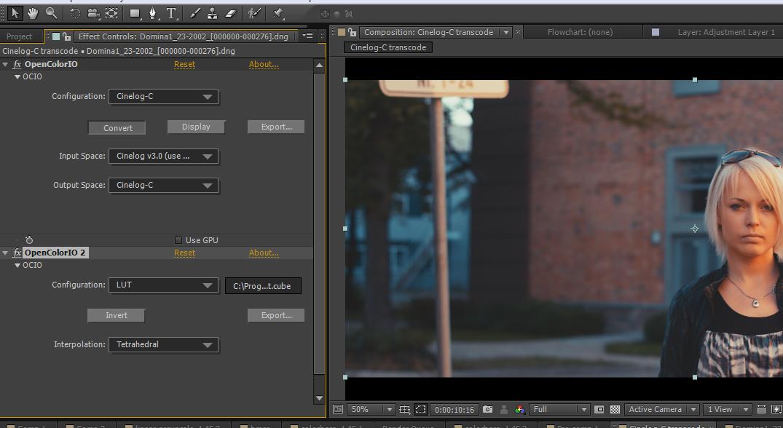 Add a Cinelog-C Film Lut