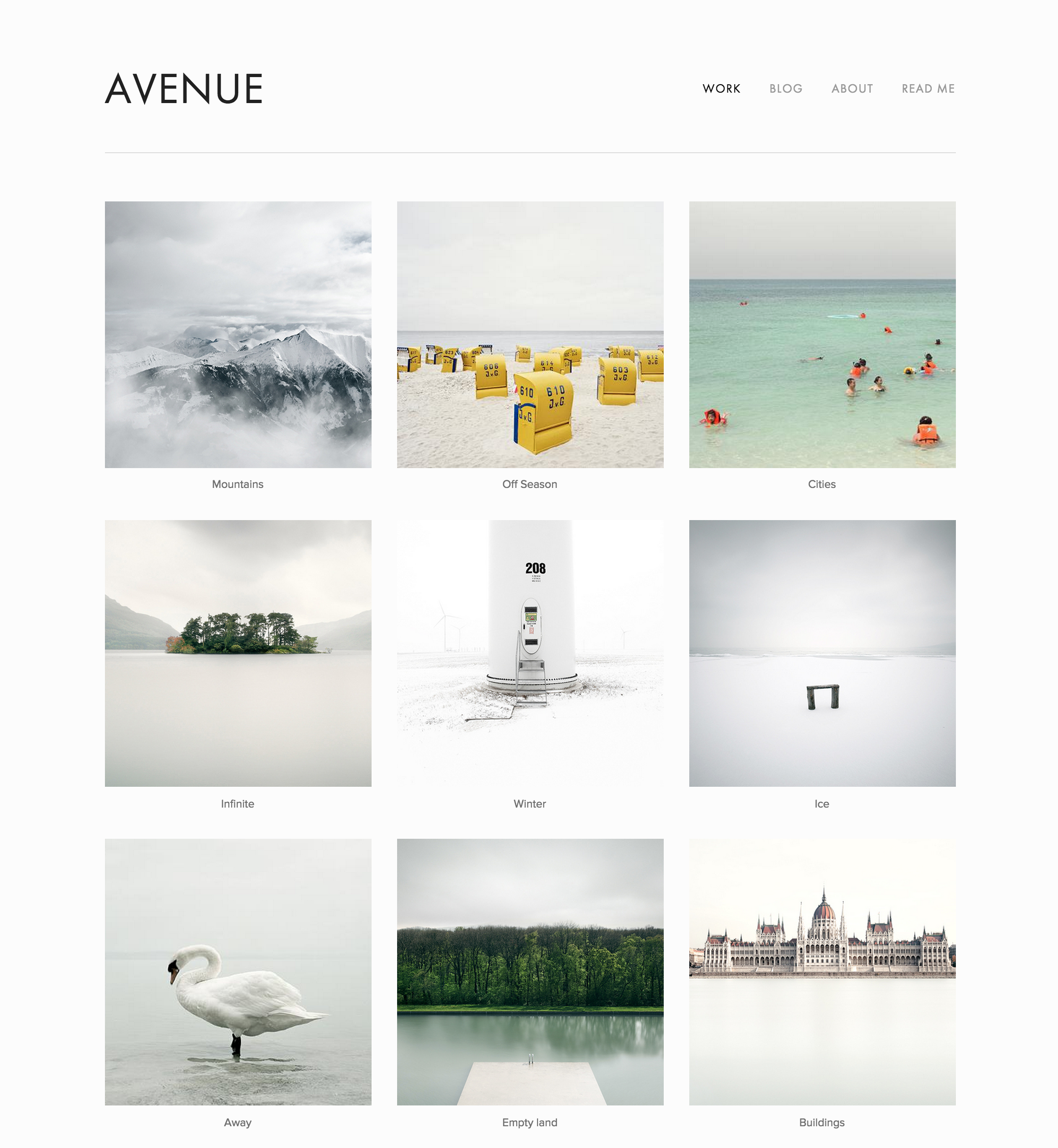 Squarespace Avenue template Index page