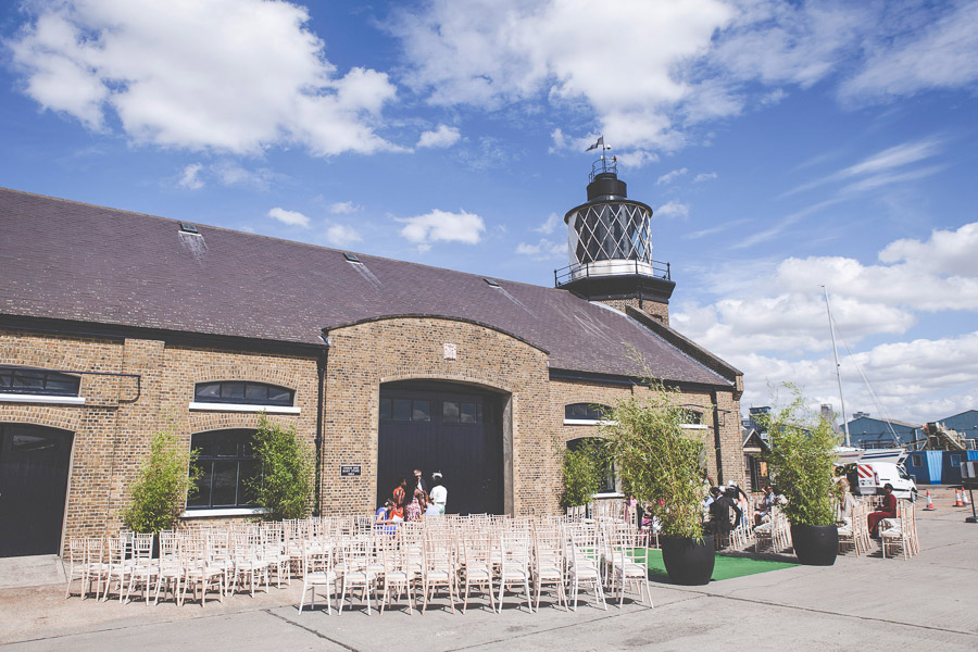 Outdoor wedding Ceremony at Trinity Buoy Wharf