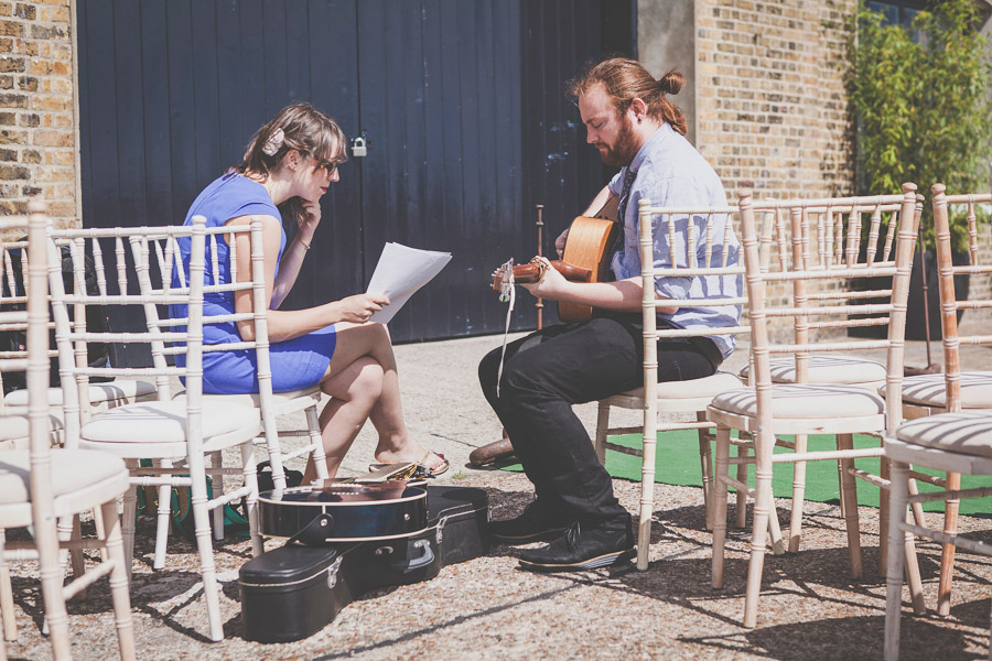 Music rehersal for wedding at Trinity Buoy Wharf