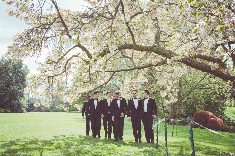 Groomsmen in the grounds of Eltham Palace