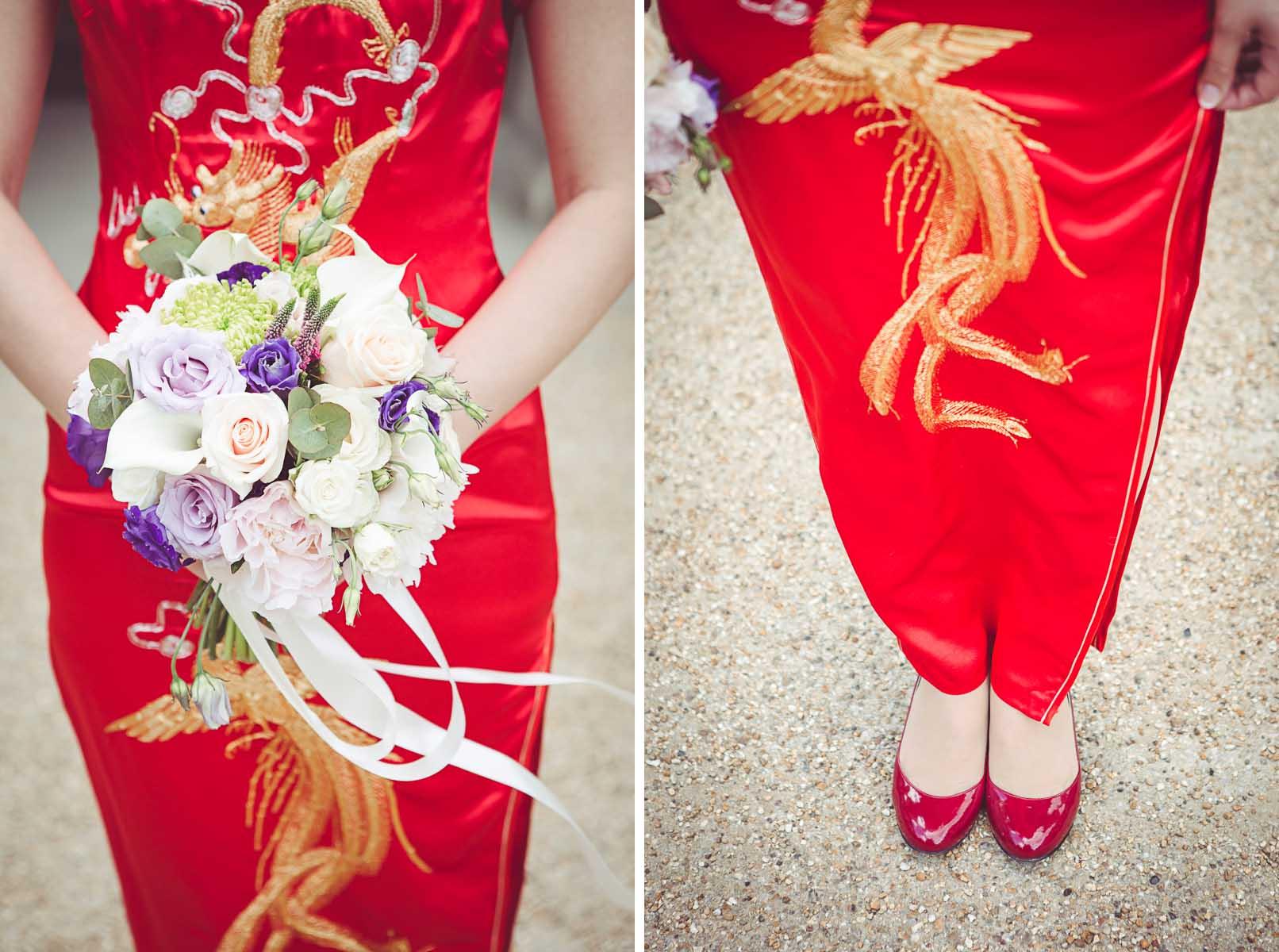 Silk red chinese wedding dress