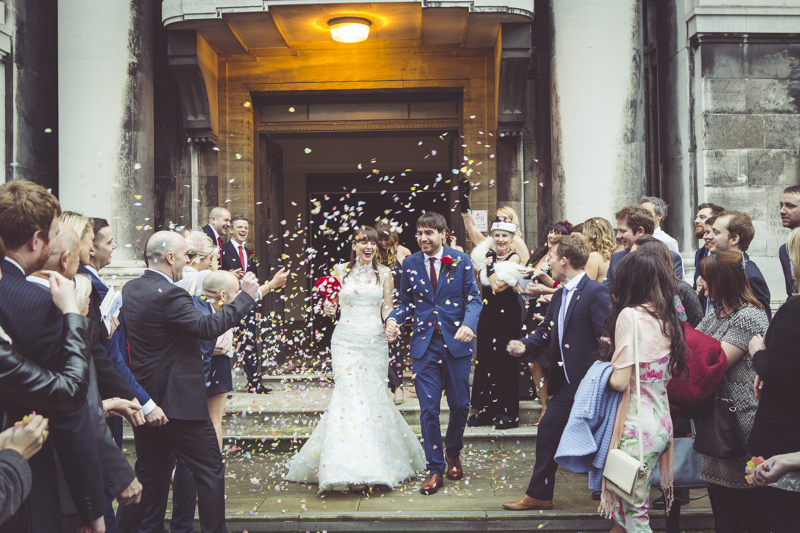 confetti on the steps of Stoke Newington Town Hall