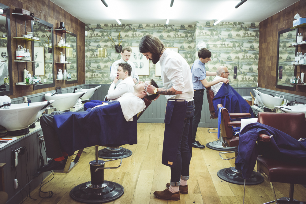 Groom and Ushers at Barbers shop