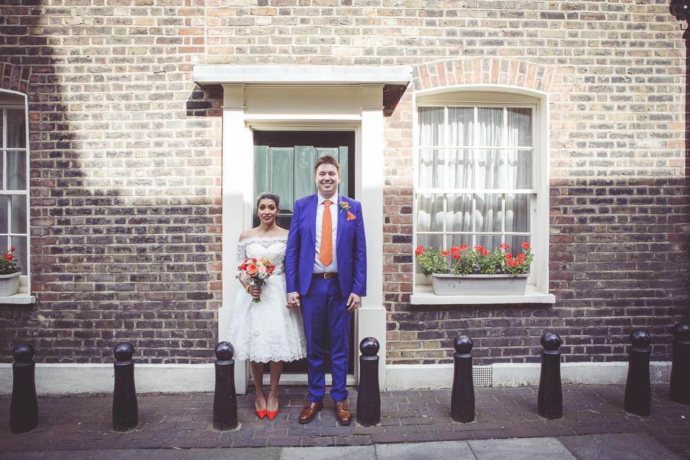 East London bride and groom