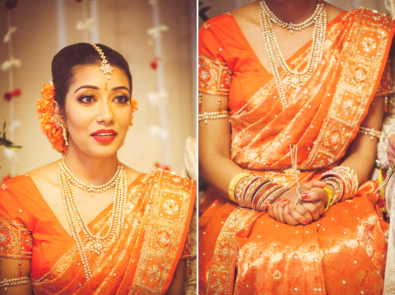 Thubeena's orange sari