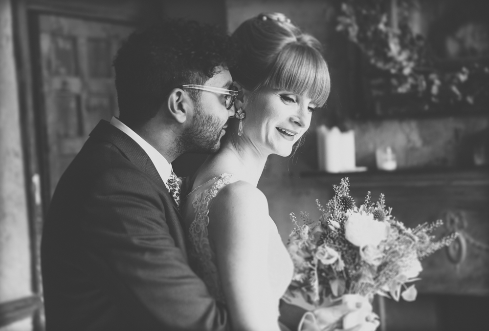 Black and white portrait of Nicole and Roshan