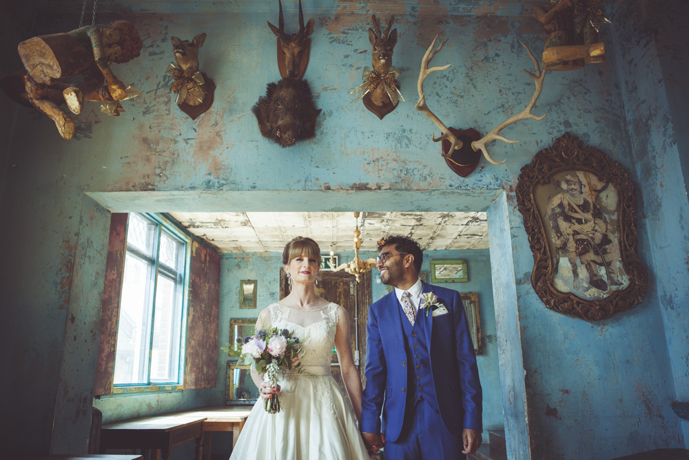 Portrait of groom and bride