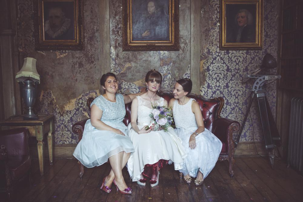 portrait of bride with bridesmaids