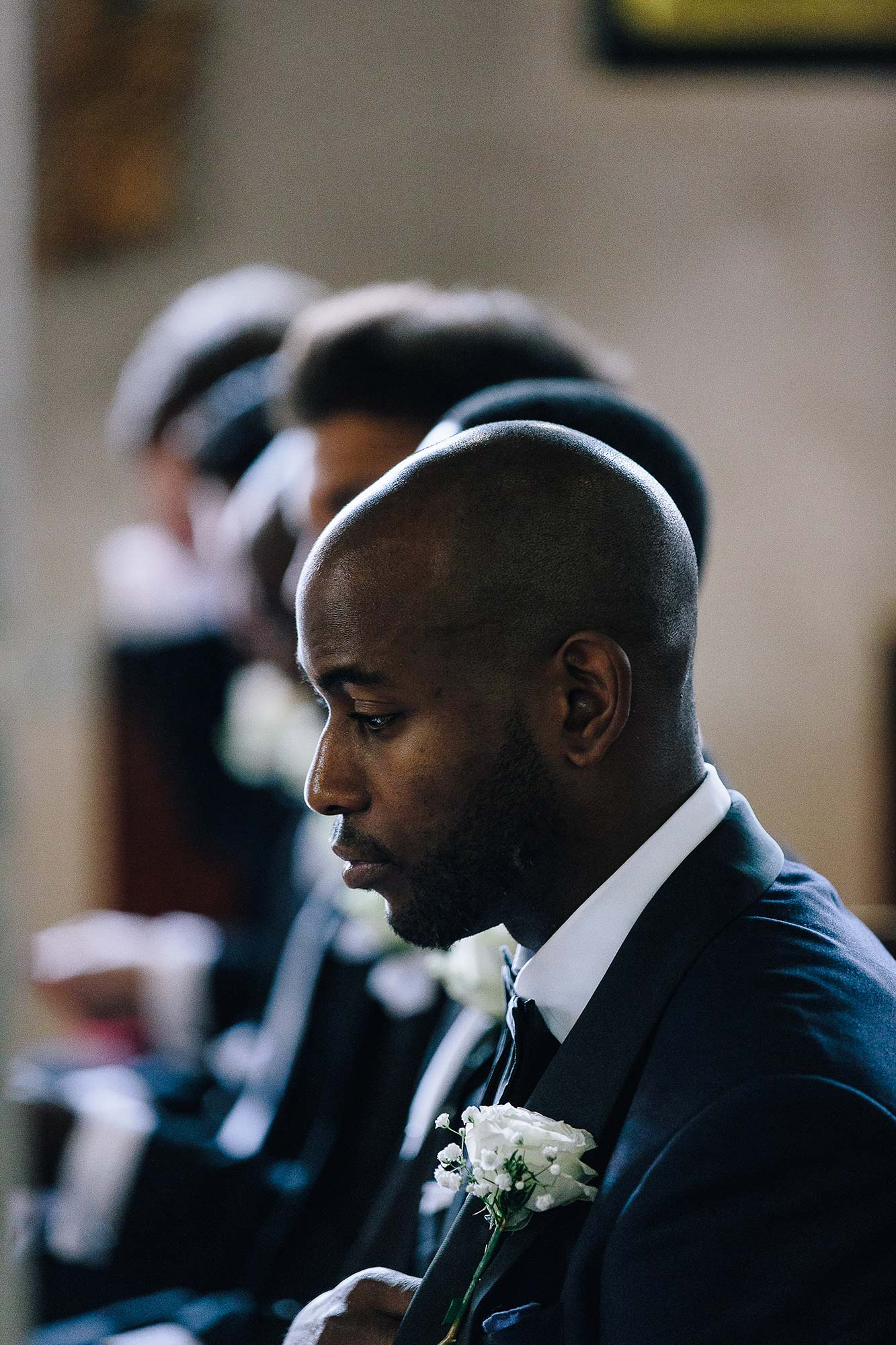 Groom moments before the wedding ceremony