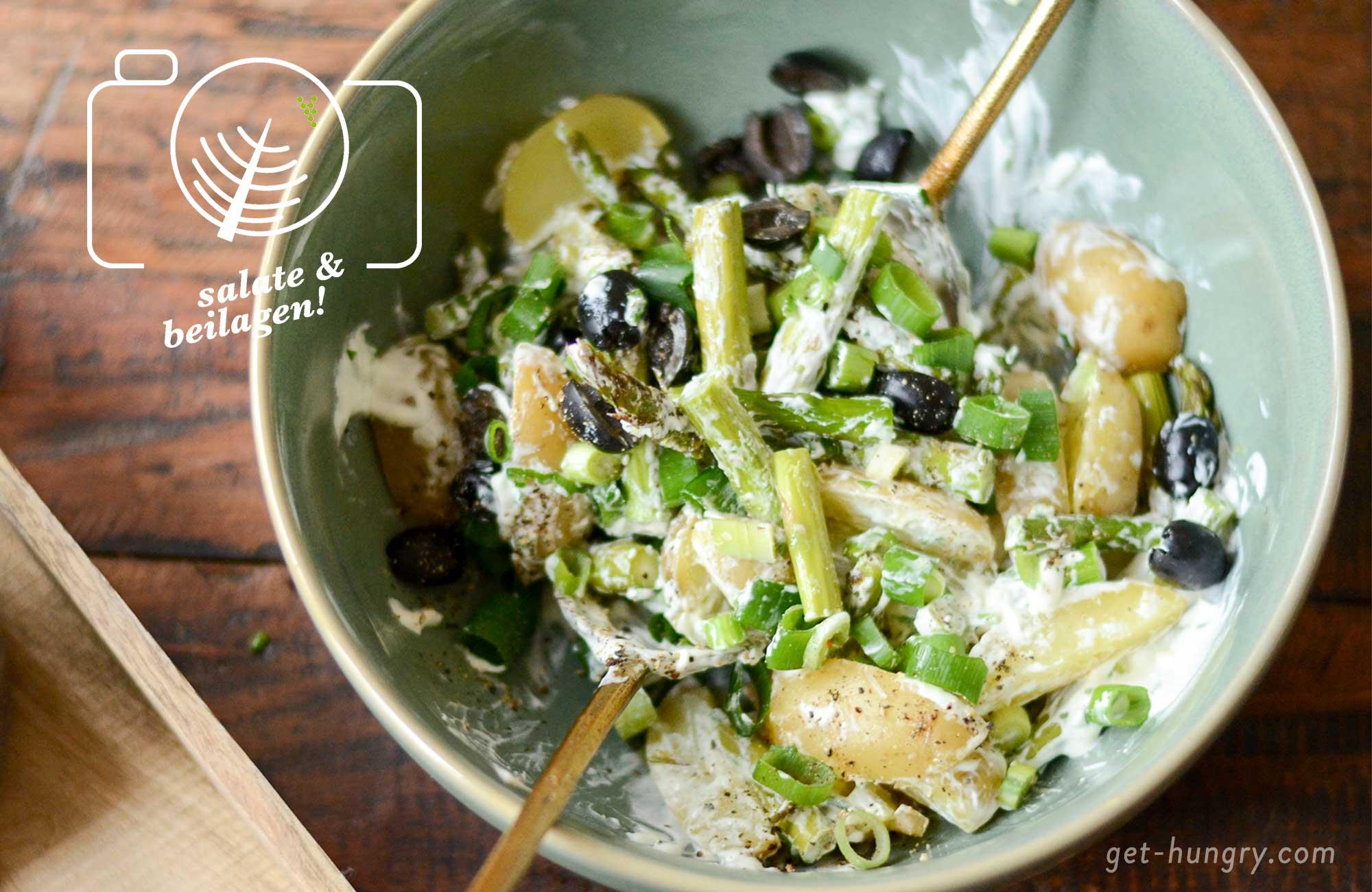 Grüner Spargel mit jungen Kartoffeln und Kräuter-Zitronen-Schmand