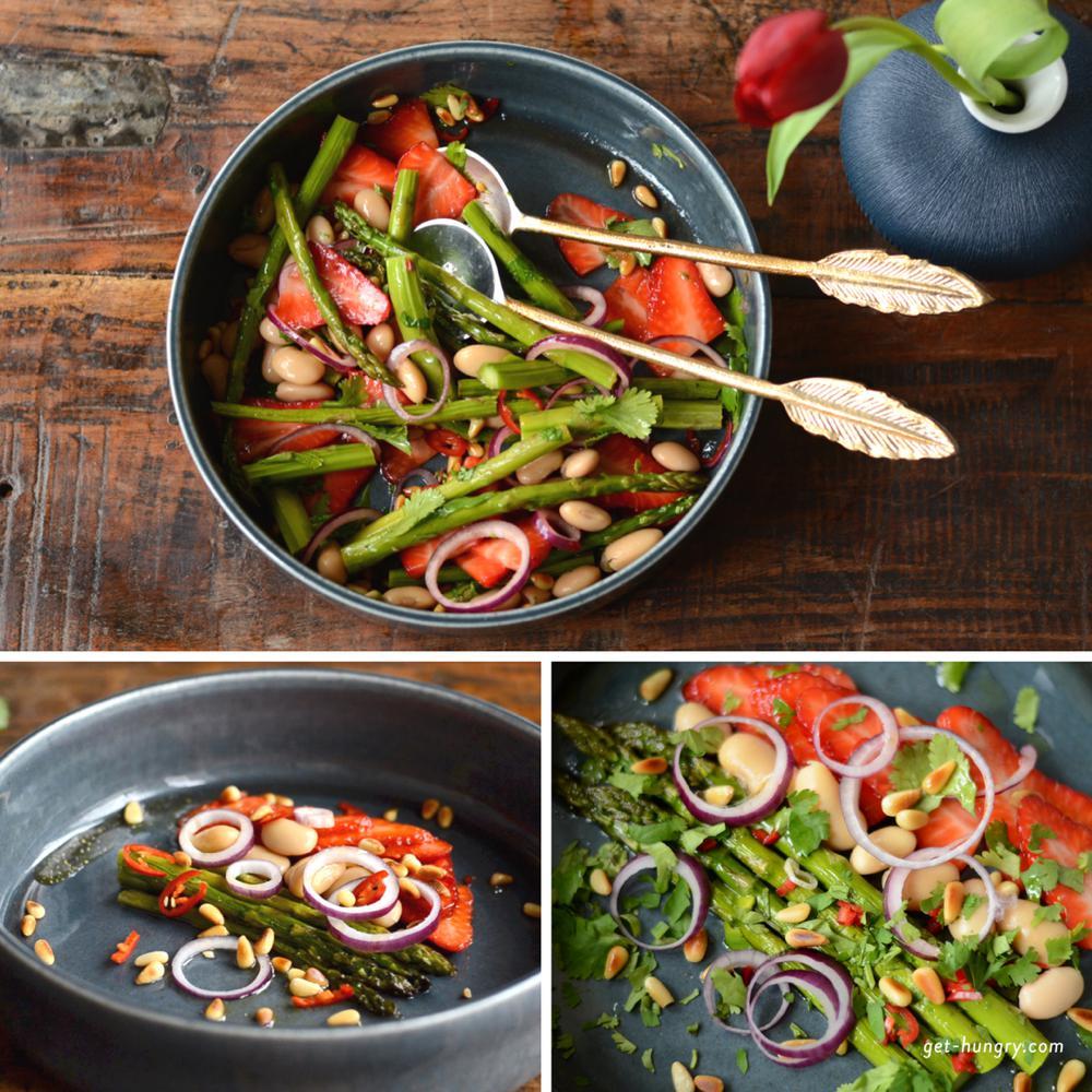Erdbeer-Spargel-Salat mit weißen Bohnen, Koriander und Limetten-Vinaigrette