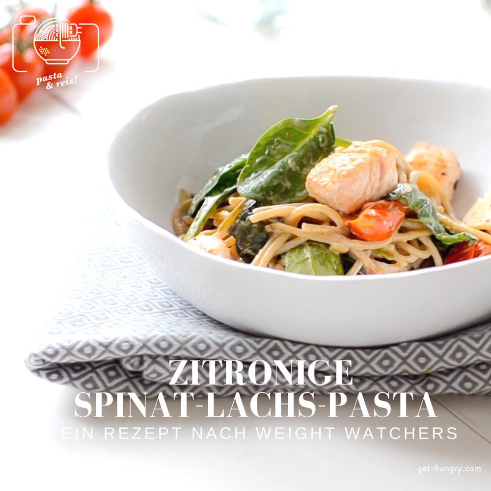 Zitronige Spinat-Lachs-Pasta nach Weight Watchers
