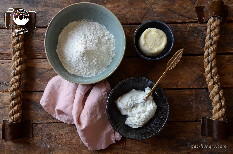 Zutaten für luftige Quarkröllchen mit Marillen-Vodka-Marmelade