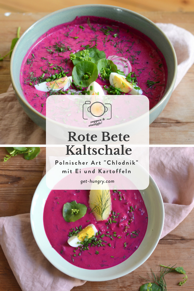Chlodnik - Rote Bete Kaltschale mit Ei und Salzkartoffeln