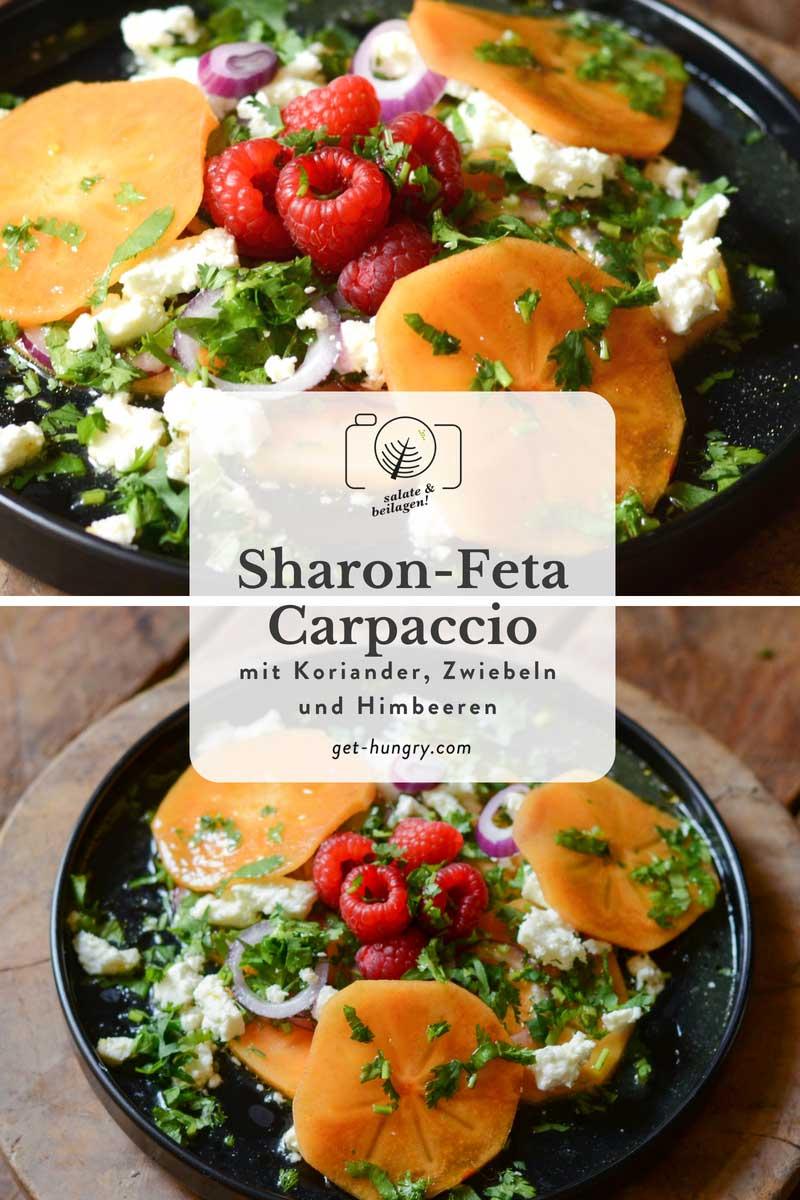 Sharonfrucht-Carpaccio mit Feta