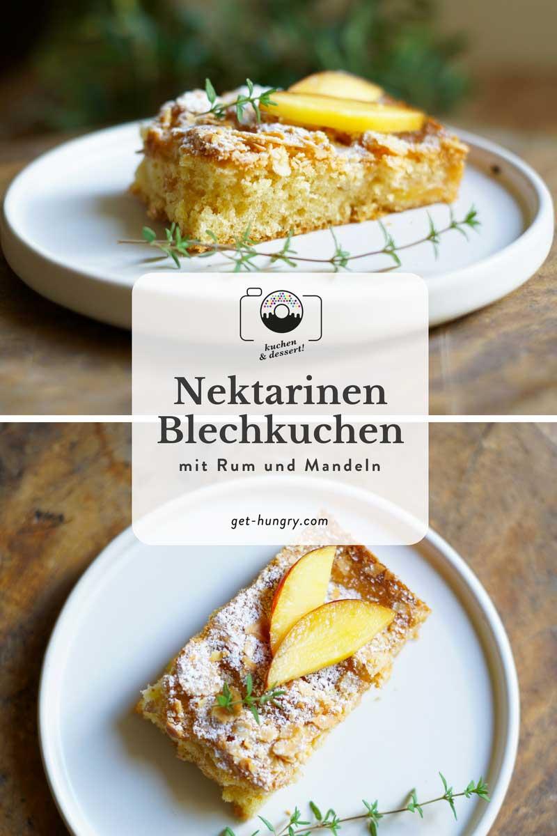 Nektarinen-Blechkuchen mit Rum und Mandeln