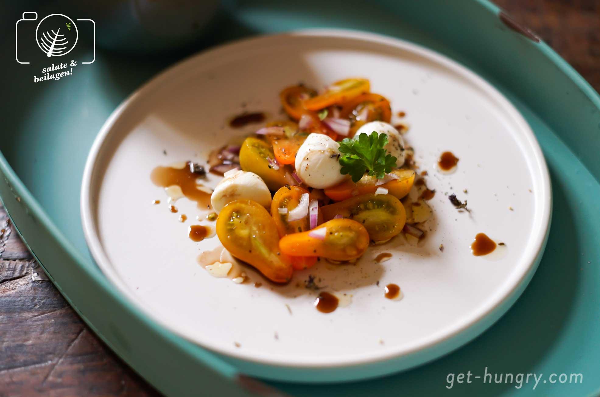 Freudentränen-Tomatensalat mit Mini-Mozzarella