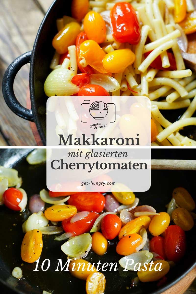 Makkaroni mit glasierten Zwiebeln, Knoblauch und Cherrytomaten