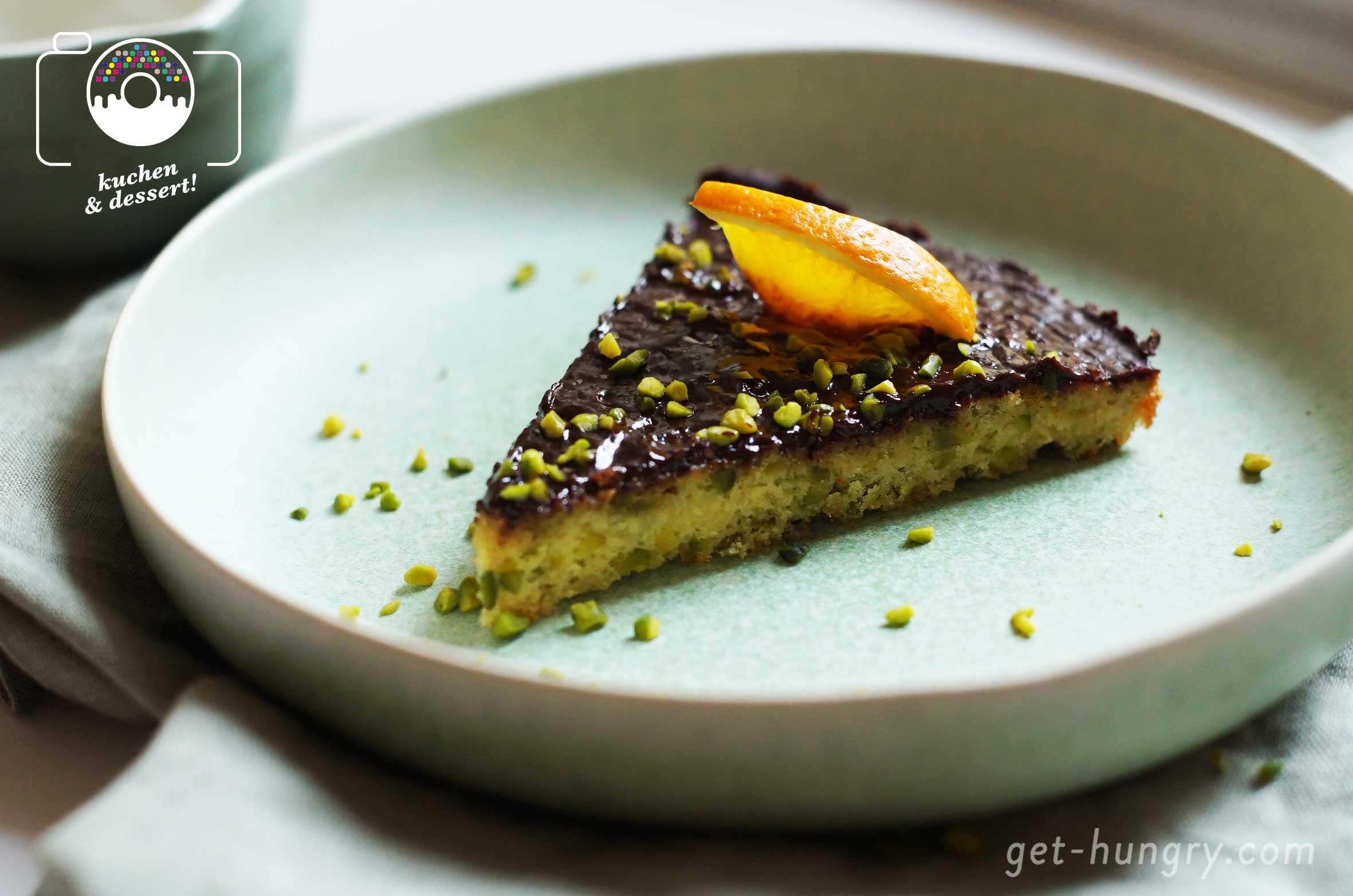 Sour Cream Pistazientarte mit Orangen-Schokolade