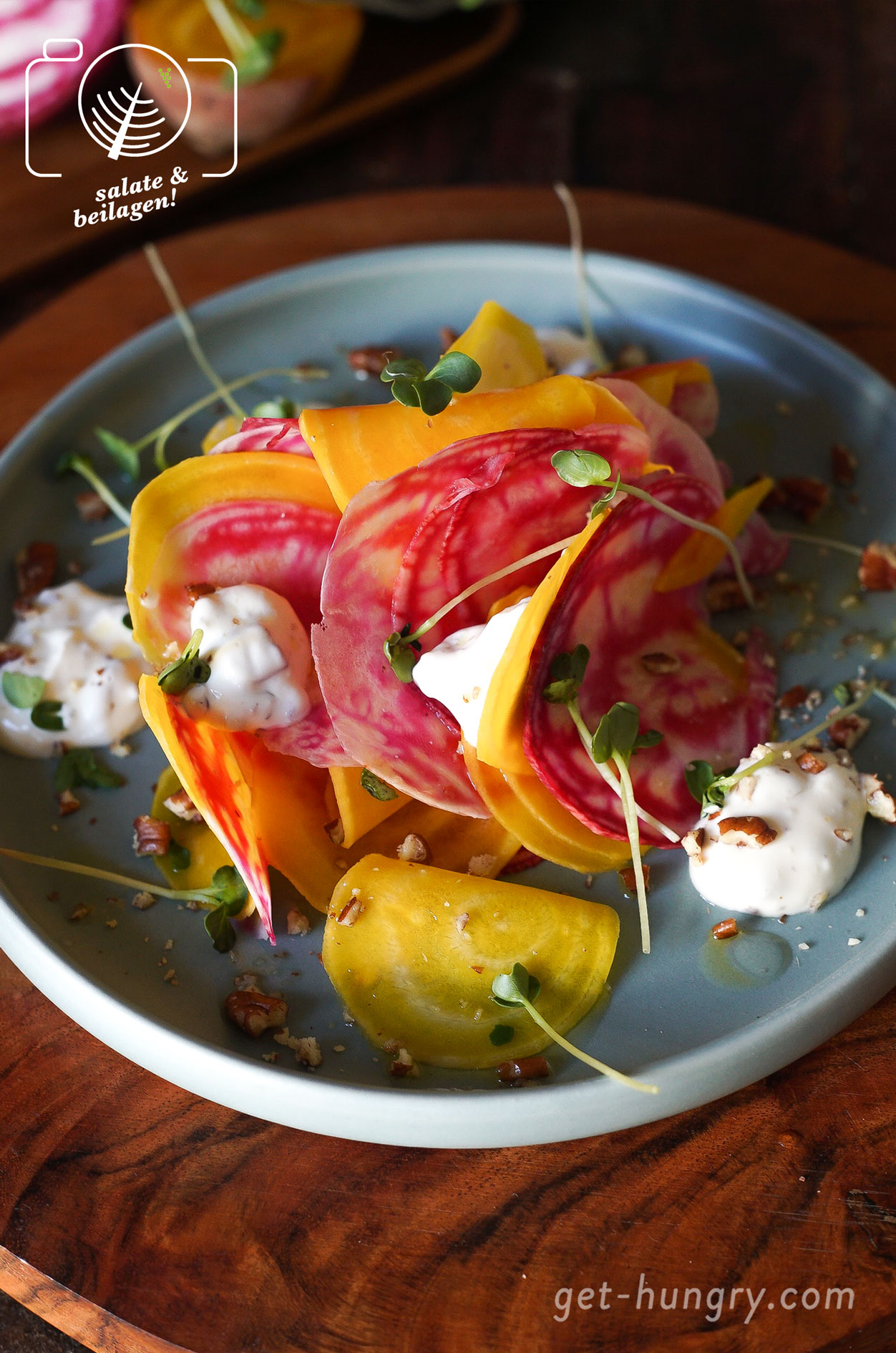 Rote-Bete-Salat mit Ziegenkäse-Pekanuss-Creme
