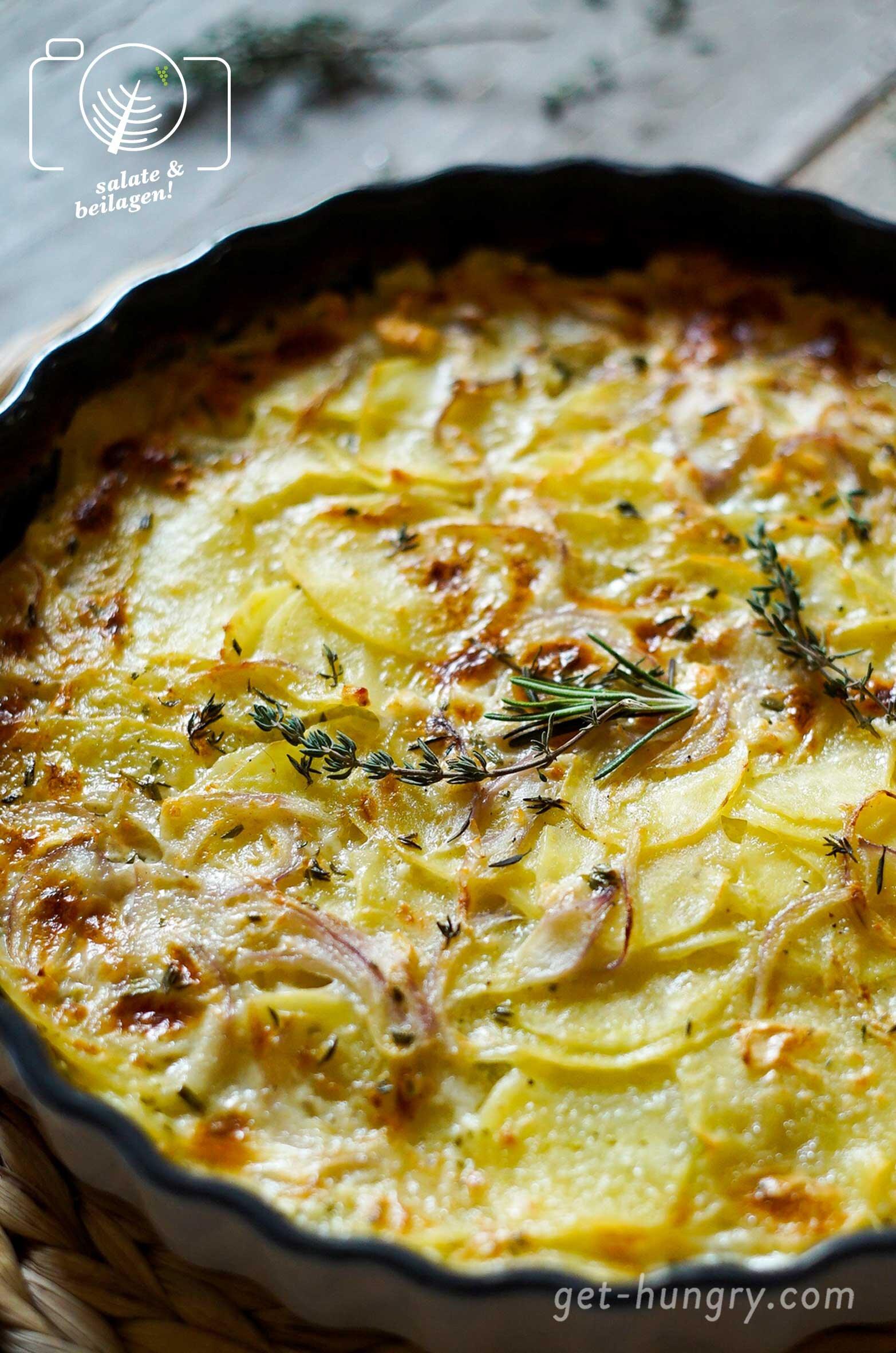Kartoffelgratin - so einfach, so lecker - mit Ziegenkäse und feinem Kräutermix