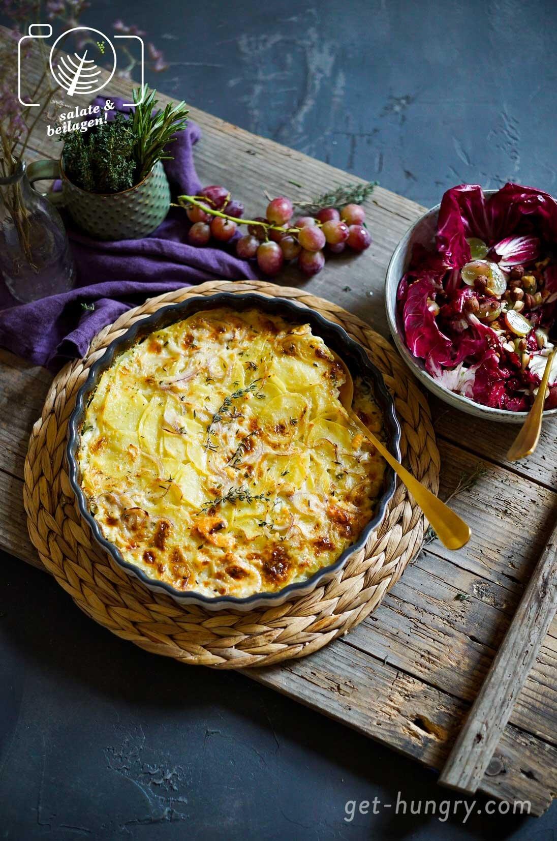 Kartoffelgratin mit Ziegenkäse und herbstlichem Salatmix