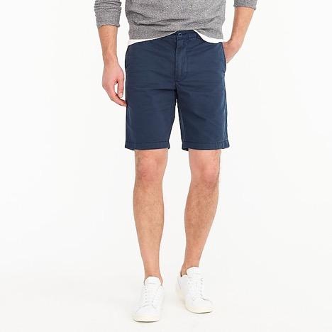 "J.Crew 9"" short in garment-  dyed cotton $65.00"