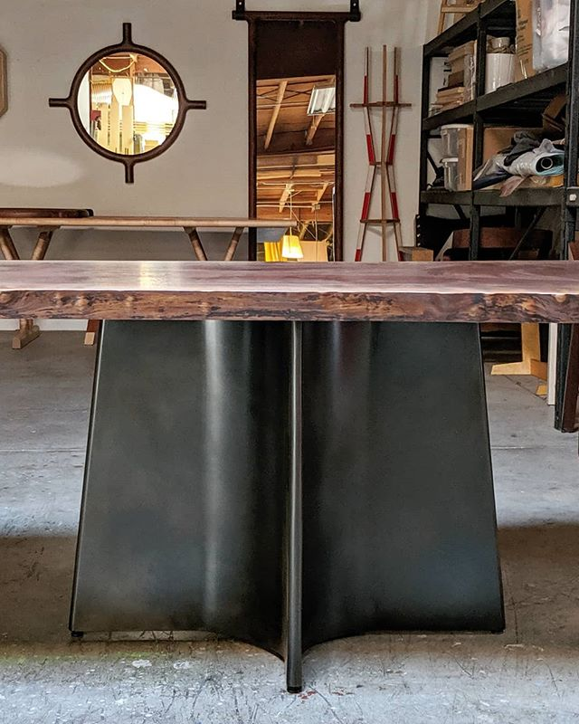Another new table for @lginteriors shipping out tomorrow. It's a @gobywalnut slab cut into two tops and mounted on blackened steel Button Table bases. One half will normally sit against the wall until needed for larger parties when they get lined up and connected underneath with brass table keepers. . . . #buttondining #buttonsteel #diningroomdesign #diningroomtable #diningtable #tables #extendingtable #slabtable #kitchentable #pedestaltable #liveedgetable #blackenedsteel #interiors #interiordesign #furnitureporn #sanfrancisco #sfmade