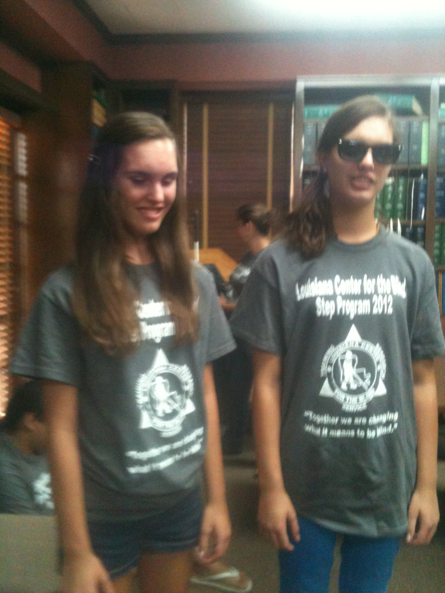 Kendal and Nikki model their 2012 STEP Program shirts during the talent show.