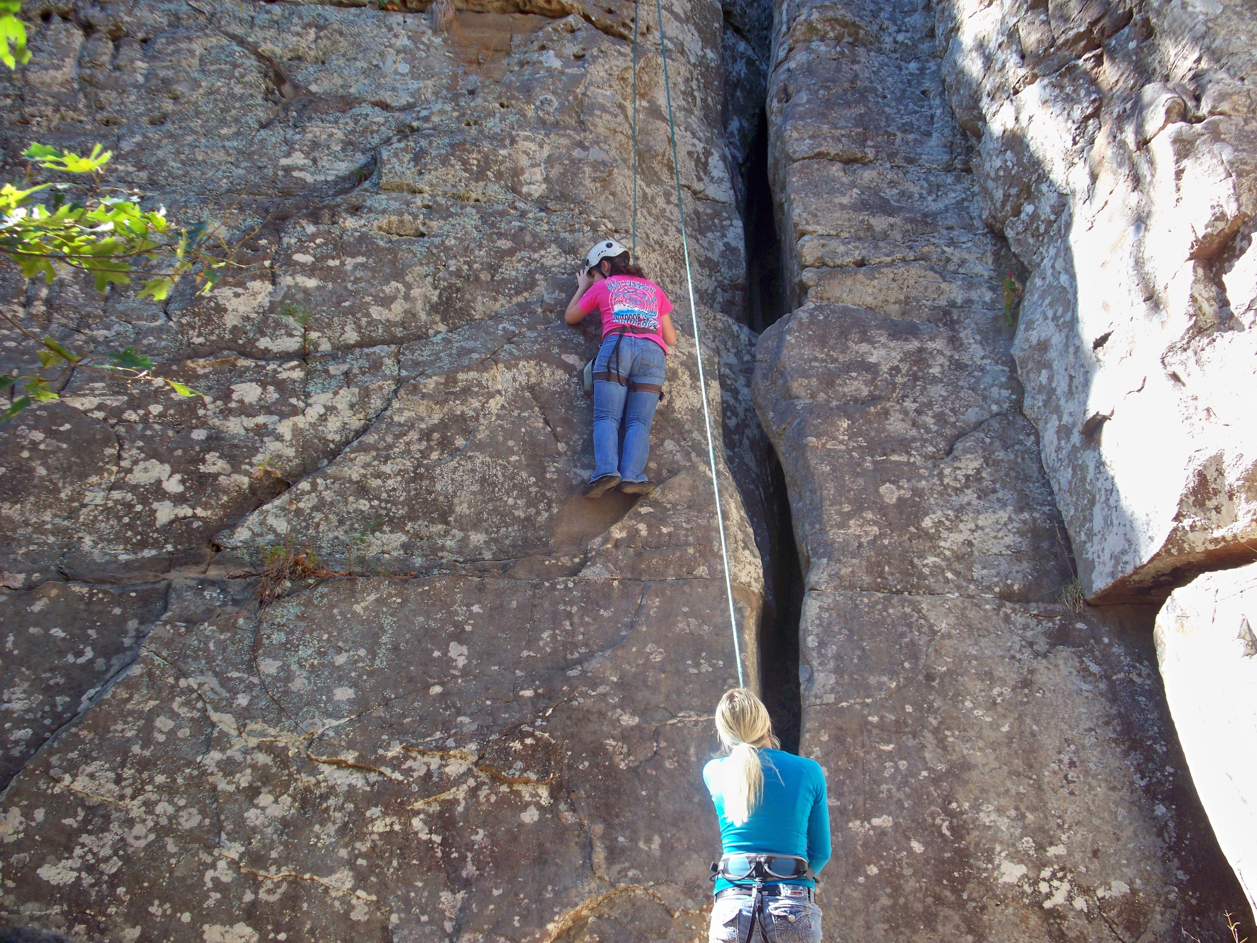 "Bre is headed up the ""chimney"" climb at HCR"