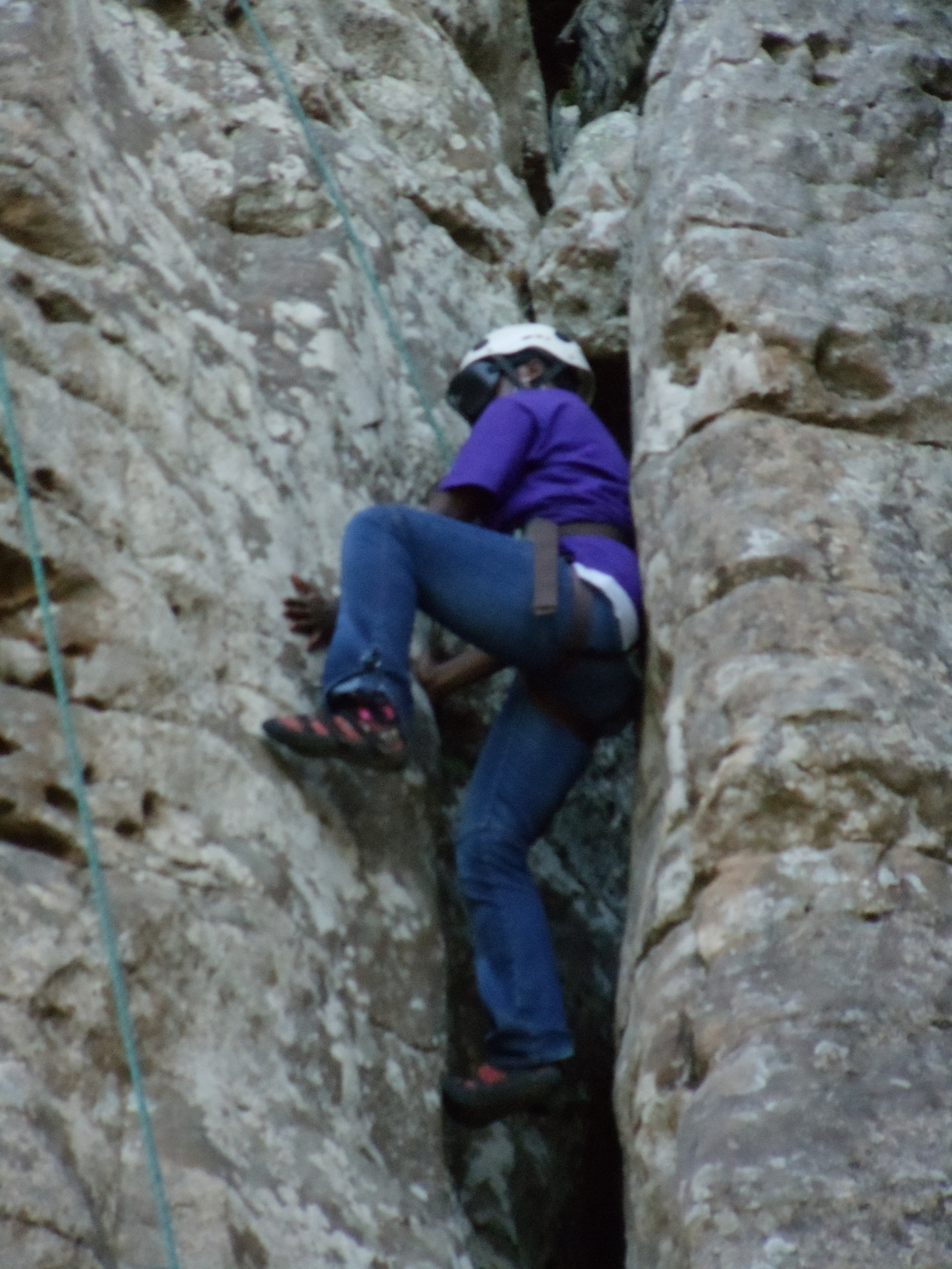 "A close up of the ""chimney"" climb at HCR."