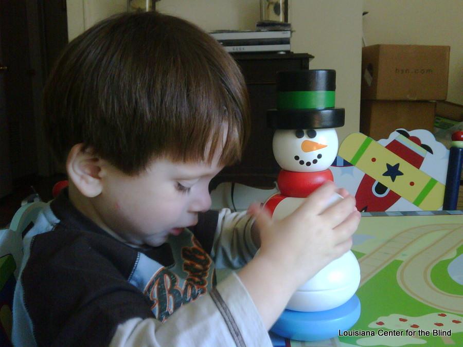 Jordan explores a snowman puzzle
